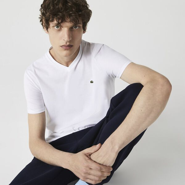 Men's Basic V Neck Pima Tee, WHITE, hi-res