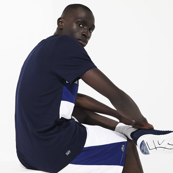 Men's Tennis Ultra Dry Tee With Taping, NAVY BLUE/OCEAN-WHITE, hi-res