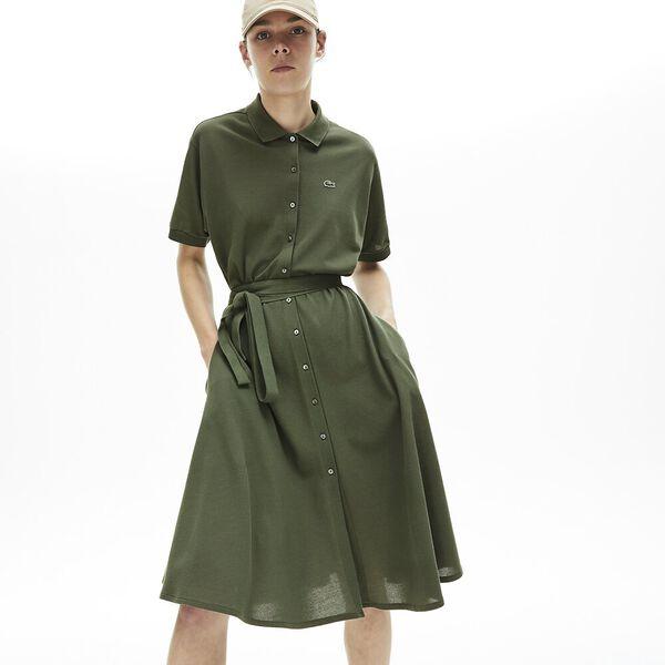 Women's Cotton Piqué Belted Polo Dress, AUCUBA, hi-res