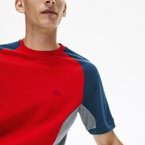 Men's Colourblock Piqué Crew Neck T-shirt, CORRIDA/PLAGE-LEGION, hi-res