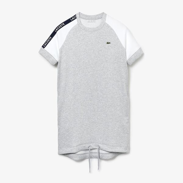 Women's SPORT Colourblock Fleece Tennis Dress, ARGENT CHINE/BLANC-MARINE-BLANC, hi-res