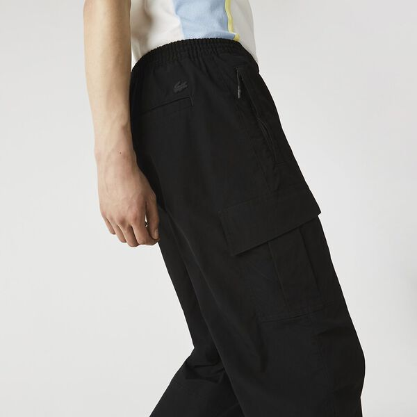 Men's Relaxed Fit Utility-Style Cargo Pants, BLACK, hi-res
