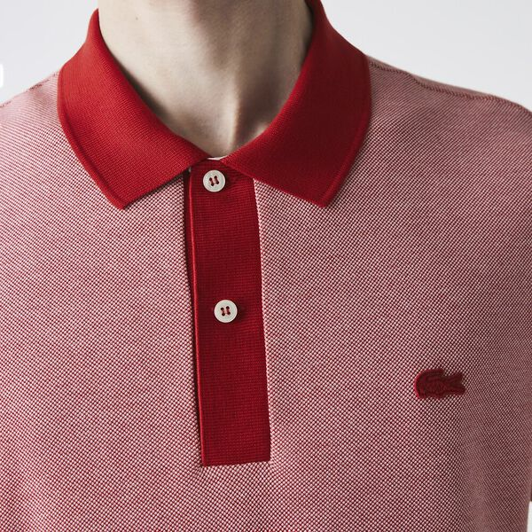 Men's Textured Cotton Piqué Polo, RED/AMARYLLIS-FLOUR, hi-res