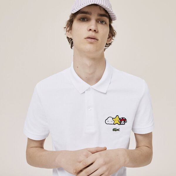 Unisex Lacoste x FriendsWithYou Design Classic Fit Polo Shirt, WHITE, hi-res
