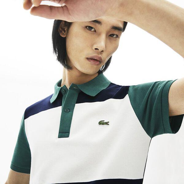 Men's Stretch Colourblock Polo Shirt, MARINE/FARINE-PIN, hi-res
