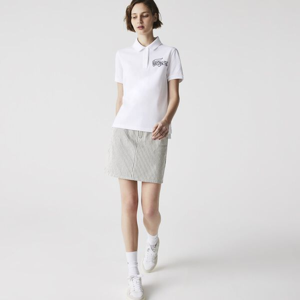 Women's Graphic Croc Polo, WHITE, hi-res
