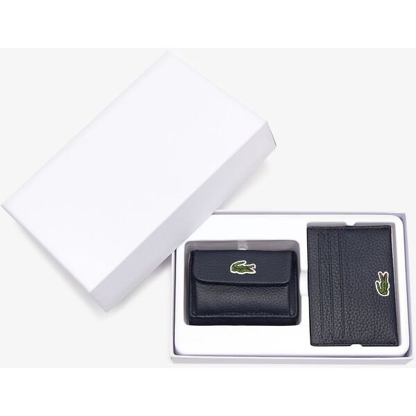 Women's Croco Crew Leather Card Holder And Coin Pouch Gift Set, PEACOAT, hi-res