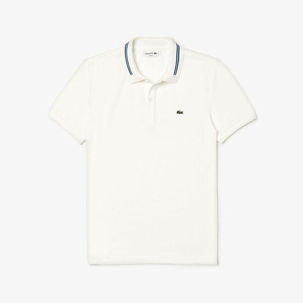 Men's Classic Slim Fit Tipped Collar Polo, FLOUR, hi-res