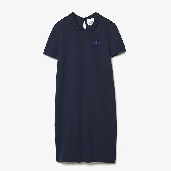 Women's Lacoste LIVE Stretch Piqué Velvet Crocodile Polo Dress, MARINE, hi-res