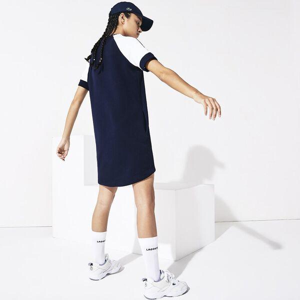 Women's SPORT Colourblock Fleece Tennis Dress, MARINE/BLANC-MARINE-BLANC, hi-res