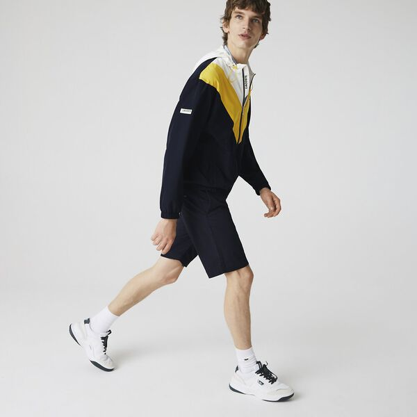 Men's Slim Fit Gabardine Bermuda Shorts, NAVY BLUE, hi-res