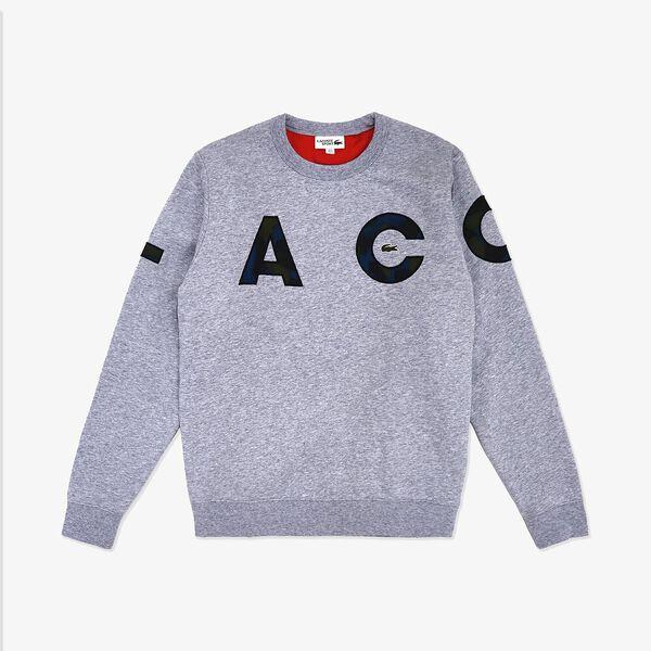 Men's Lifestyle Fleece Crew Sweatshirt, SILVER CHINE/BLACK-ILLUMI, hi-res