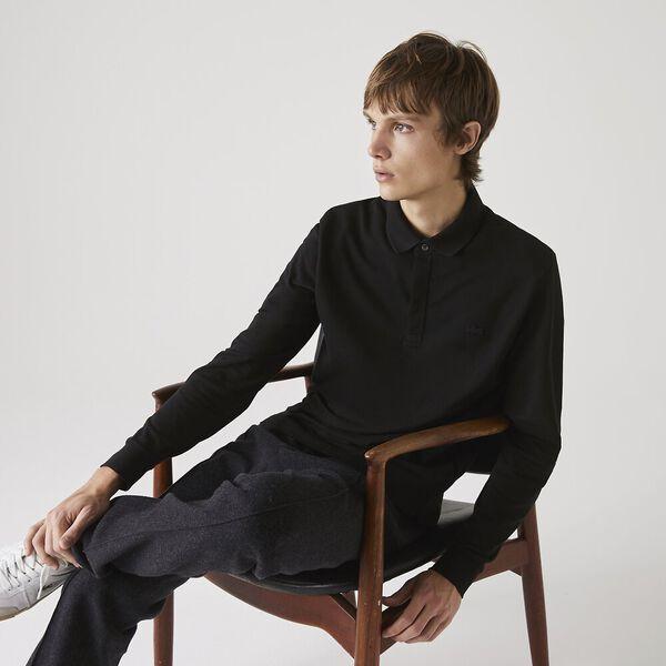 Men's Long-sleeve Lacoste Paris Polo Shirt Regular Fit Stretch Cotton Piqué, BLACK, hi-res