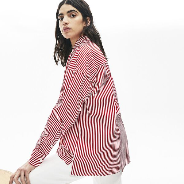 Women's Lacoste LIVE Boxy Fit Striped Cotton Shirt, FARINE/ROUGE, hi-res