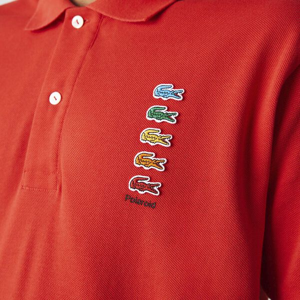 Men's Lacoste x Polaroid Colored Crocodiles Cotton Piqué Polo, CORRIDA, hi-res