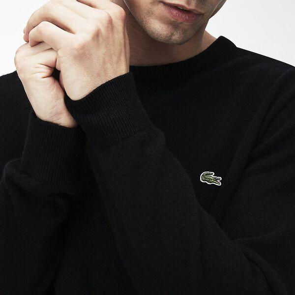 Men's Classic Crew Neck Wool Knit, BLACK/PASSION-FLOUR, hi-res