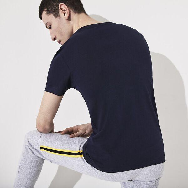Men's SPORT Oversized Crocodile Technical Jersey Tennis T-Shirt, MARINE/CITRON 05E, hi-res