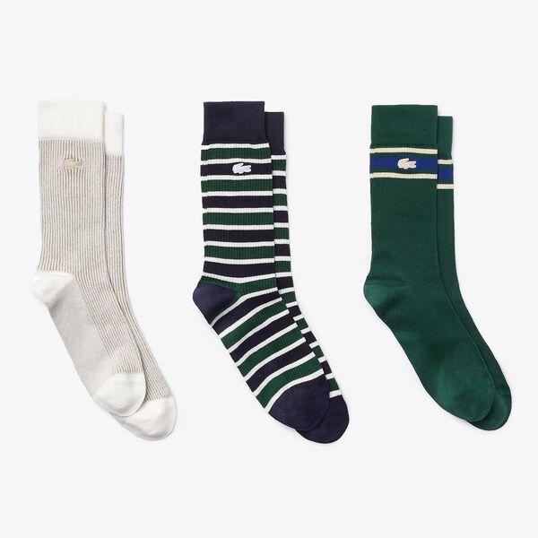 Men's Heritage Ribbed Sock Three-Pack, SABLER/NAVY BLUE-SWING, hi-res