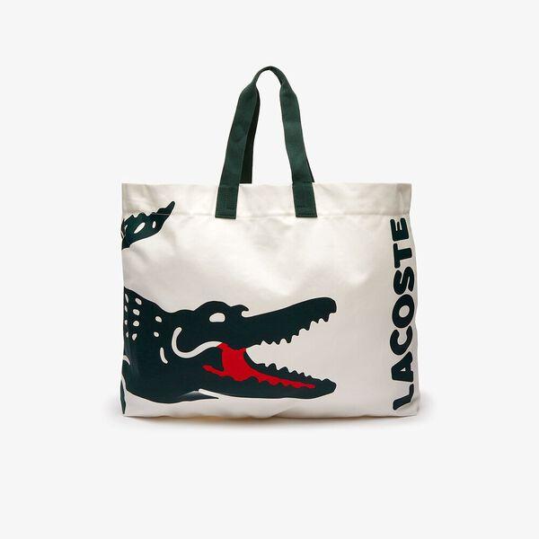 Women's Oversized Crocodile Print Cotton Large Tote