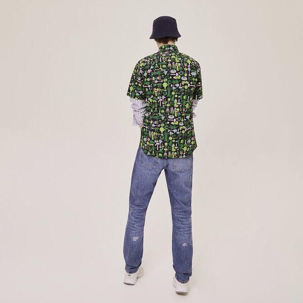 Unisex Lacoste x Jeremyville Regular Fit Cotton Shirt, NAVY BLUE/MULTICO, hi-res