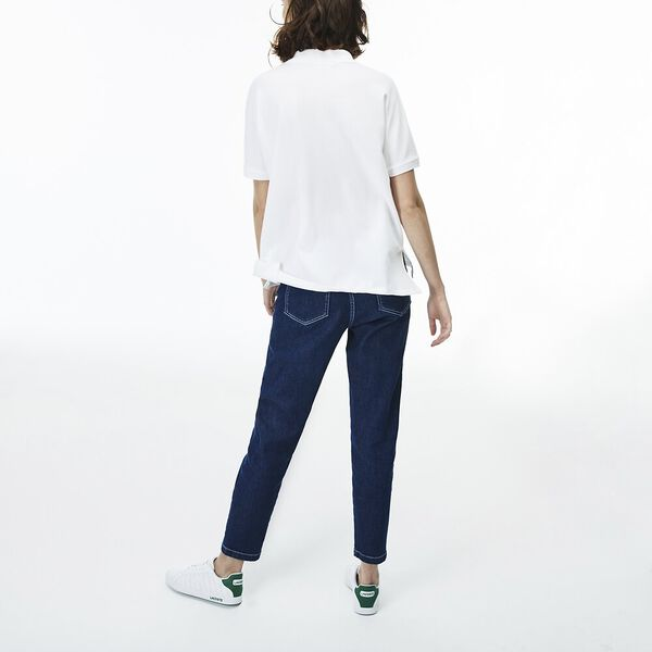 Women's Relaxed Fit Polo, WHITE, hi-res