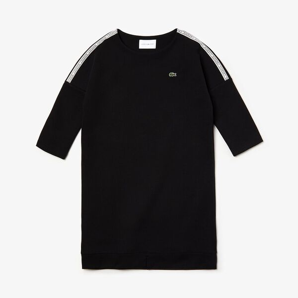 Women's Tennis Double Faced Fleece Dress, BLACK/WHITE-BLACK, hi-res