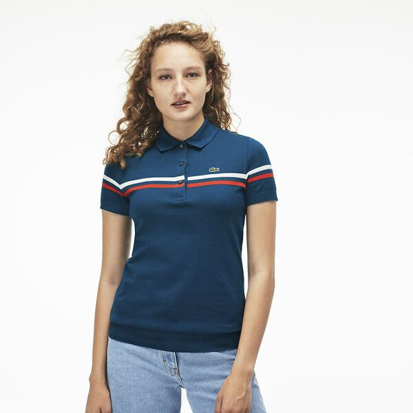 WOMEN'S MADE IN FRANCE TWO STRIPE POLO, LUCIDA/WHITE/LUCIDA, hi-res