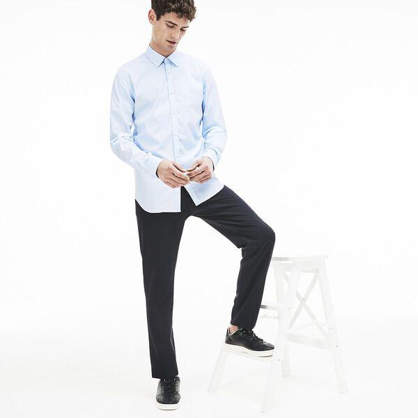 Men's Slim Stretch Solid Poplin Shirt, RILL, hi-res