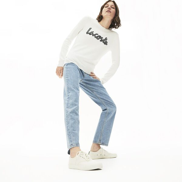 Women's Cotton Crew Neck Sweater, FARINE, hi-res