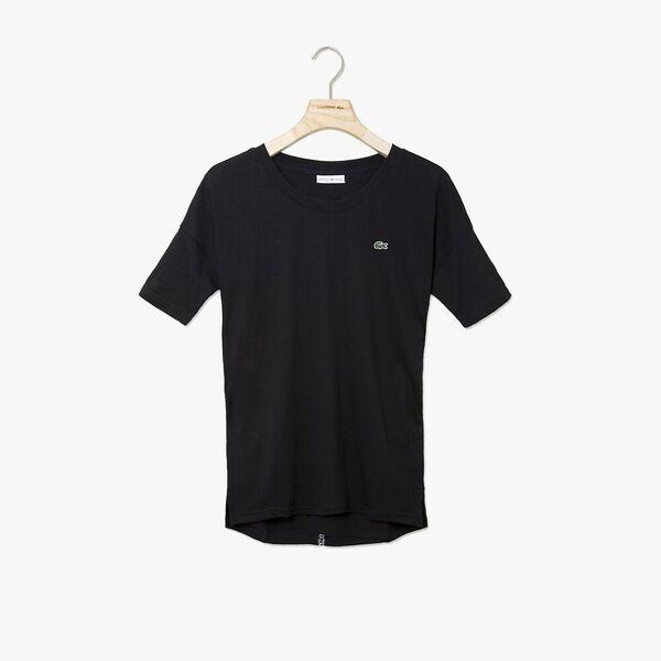 Women's Tennis Plain Jersey Tee, BLACK/BLACK-WHITE, hi-res