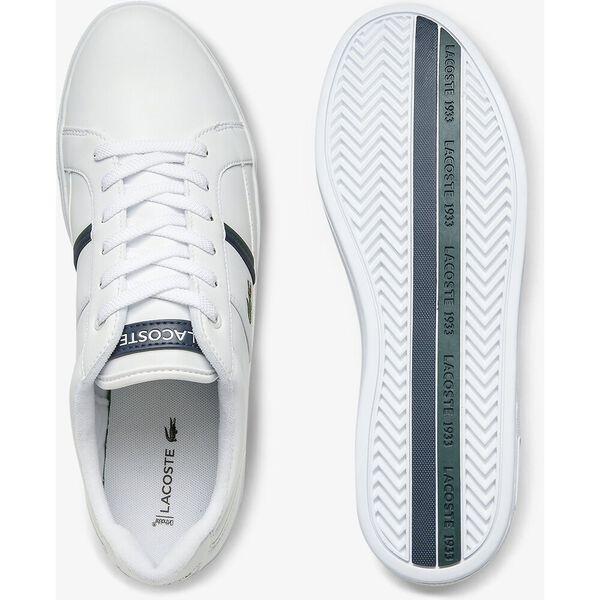 Men's Europa Leather Sneakers, WHITE/DARK GREEN, hi-res