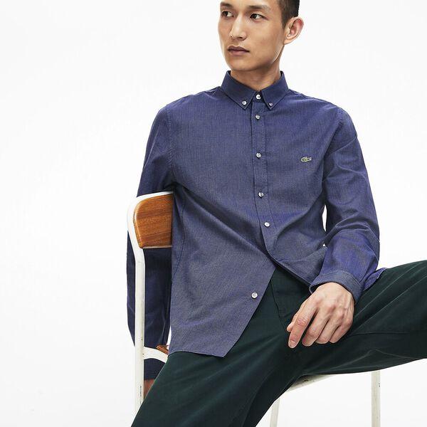 Men's Long Sleeve Slim Fit Jacquard Dot Shirt