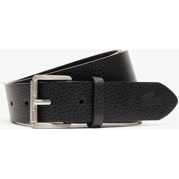 Men's Engraved Rolling Buckle Grained Leather Belt, NOIR, hi-res