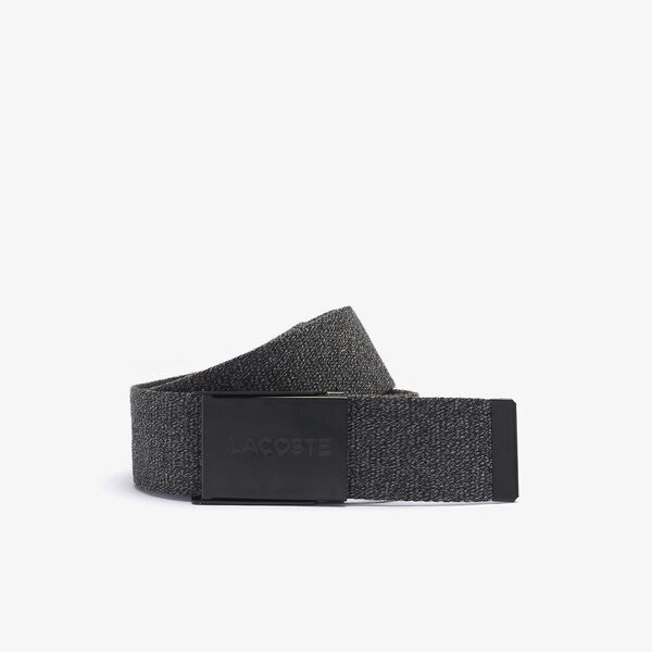 Men's Embroidered Crocodile Belt, NOIR CHINE, hi-res