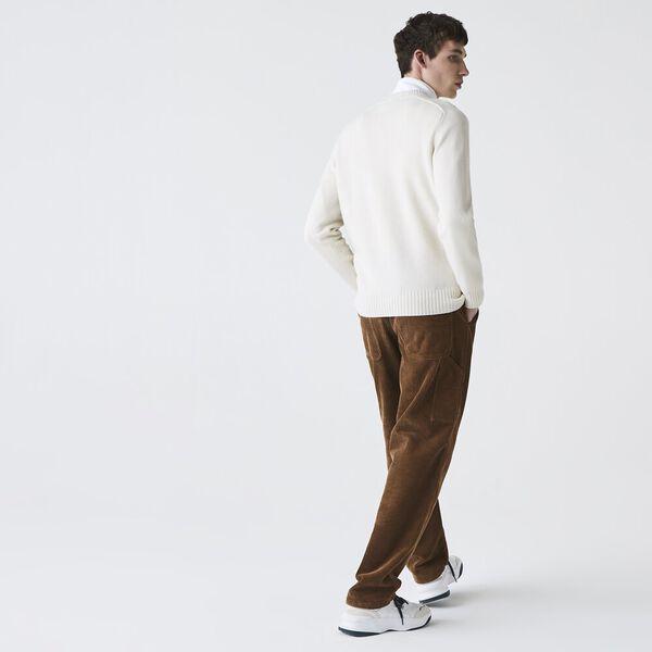 Unisex LIVE Jacquard Motif Wool Blend Crew Neck Sweater, ABYSM/GREEN-FLOUR, hi-res