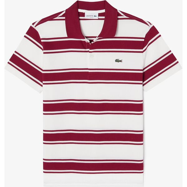 Men's Striped Stretch Cotton Piqué Slim Fit Polo, BORDEAUX/FARINE, hi-res