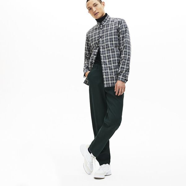 Men's Chic Long Sleeve Padded Check Overshirt, GRANITAL CHINE, hi-res