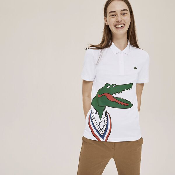 Unisex Lacoste x Jean-Michel Tixier Print Classic Fit Polo Shirt, WHITE/RED, hi-res