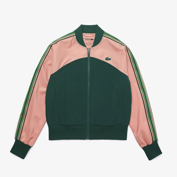 Women's SPORT Loose Fit Colorblock Zip Teddy Jacket, ELF PINK/SWING-MALACHITE, hi-res