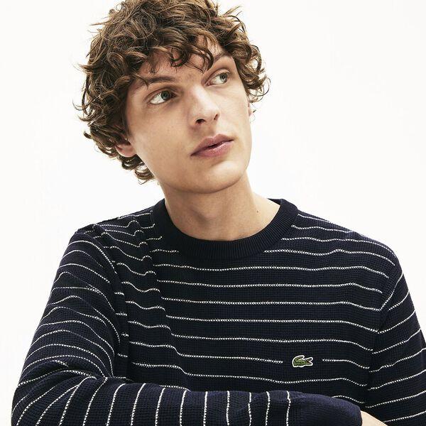 Men's Striped Textured Cotton Sweater, MARINE SOMBRE/FARINE, hi-res