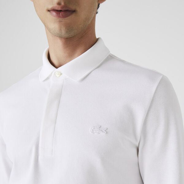 Men's Long-sleeve Paris Polo, BLANC, hi-res