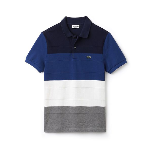 MEN'S REGULAR FIT COLOUR BLOCK POLO, STONE CHINE/FLOUR/INKWELL, hi-res