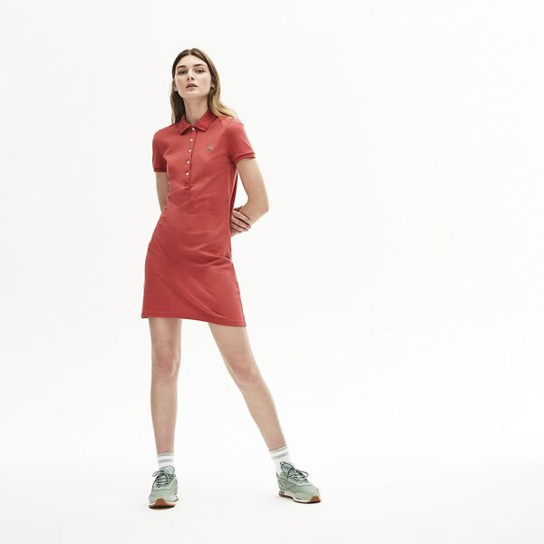 Women's Classic Slim Fit Polo Dress, SIERRA RED, hi-res