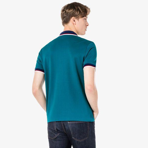 Men's Regular Fit Striped Collar Polo, DANUBE, hi-res
