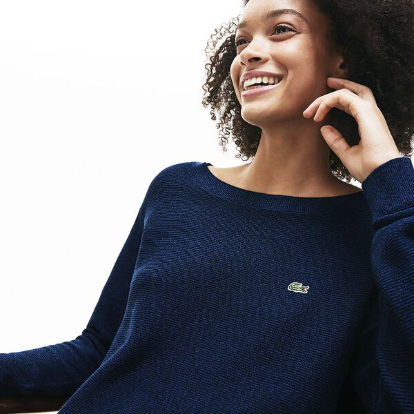 Women's Classic Cotton Knit, NAVY BLUE/RAFFIA MATTING, hi-res