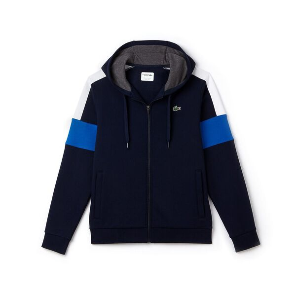 MEN'S COLOUR BLOCK HOODIE, NAVY BLUE/WHITE/BLUE, hi-res