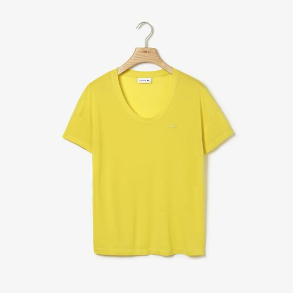 Women's Lacoste Motion Fluid Rib Tee, MIDDAY YELLOW, hi-res