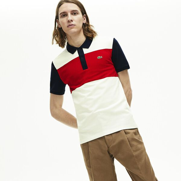 Men's Stretch Colourblock Polo Shirt, FARINE/ROUGE-MARINE, hi-res