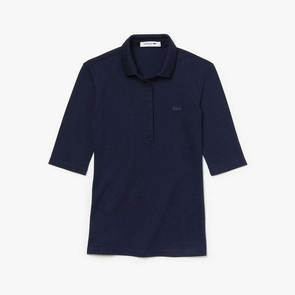 Women's Slim Fit Stretch Mini Piqué Polo Shirt, NAVY BLUE, hi-res