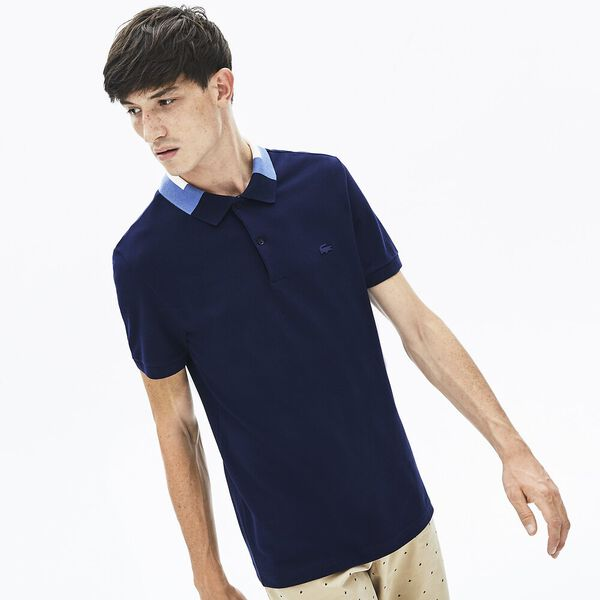 Men's Classic Slim Fit Jacquard Collar Polo, NAVY BLUE, hi-res